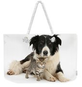 Border Collie And Kitten Weekender Tote Bag