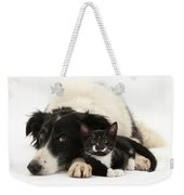 Border Collie And Tuxedo Kitten Weekender Tote Bag