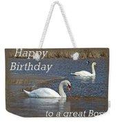 Boss Birthday Card - Mute Swans On Winter Pond Weekender Tote Bag