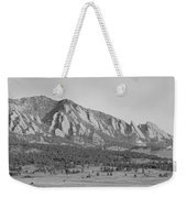 Boulder Colorado Flatiron Scenic View With Ncar Bw Weekender Tote Bag