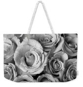 Bouquet Of Roses With Water Drops In Black And White Weekender Tote Bag