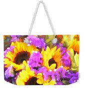 Bouquet Of Sunflowers And Purple Statice Weekender Tote Bag