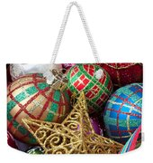 Box Of Christmas Ornaments With Star Weekender Tote Bag