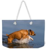 Boxer Playing In Water Weekender Tote Bag