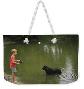 Boy Fishing In A Pond With A Black Weekender Tote Bag