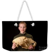 Boy Holding Kodiak Bear Skull Weekender Tote Bag