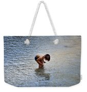 Boy Playing In The Pond Weekender Tote Bag