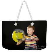 Boy Popping A Balloon Weekender Tote Bag