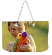 Boy Spraying Water Gun Weekender Tote Bag