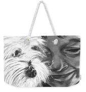 Boy With Pet Dog Weekender Tote Bag