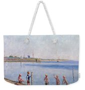 Boys At Water's Edge Weekender Tote Bag by Johan Rohde