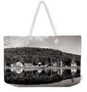 Brant Lake Reflections Black And White Weekender Tote Bag