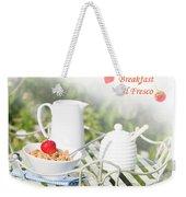 Breakfast Al Fresco Weekender Tote Bag by Amanda Elwell