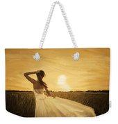Bride In Yellow Field On Sunset  Weekender Tote Bag by Setsiri Silapasuwanchai