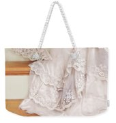 Bride Sitting On Stairs With Lace Fan Weekender Tote Bag by Jill Battaglia
