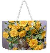 Bright Smile - Roses In A Silver Vase Weekender Tote Bag