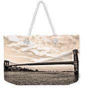 Brooklyn Bridge In Sepia Weekender Tote Bag