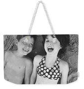 Brother And Sister On Beach Weekender Tote Bag
