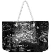Bubble Blower Of Central Aprk In Black And White Weekender Tote Bag