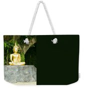 Buddha Statue Under Green Tree In Meditative Posture Weekender Tote Bag