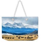 Buffalo Herd Painterly Weekender Tote Bag