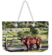 Bull In Pasture Weekender Tote Bag by Susan Savad