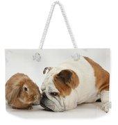 Bulldog And Lionhead-cross Rabbit Weekender Tote Bag