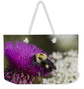 Bumble Bee And Bristle Thistle Weekender Tote Bag