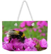 Bumble Bee Searching The Pink Flower Weekender Tote Bag