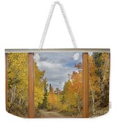 Burning Autumn Aspens Back Country Colorado Window View Weekender Tote Bag