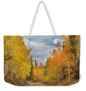 Burning Orange And Gold Autumn Aspens Back Country Colorado Road Weekender Tote Bag