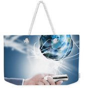 Businessman Holding Mobile Phone With Globe Weekender Tote Bag