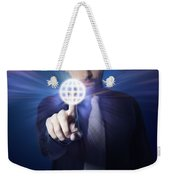Businessman Pressing Touch Screen Button Weekender Tote Bag