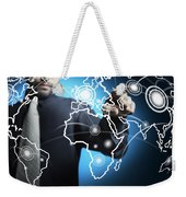 Businessman Touching World Map Screen Weekender Tote Bag by Setsiri Silapasuwanchai