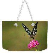 Butterfly On Pink Flower  Weekender Tote Bag