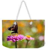 Butterfly On Pink Zinnia Weekender Tote Bag