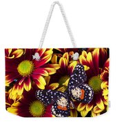 Butterfly On Yellow Red Daises  Weekender Tote Bag