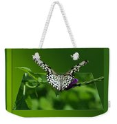 Butterfly White 16 By 20 Weekender Tote Bag