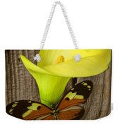 Butterfly With Calla Lily Weekender Tote Bag