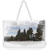 Cabin In Snow With Mountains In Background Weekender Tote Bag