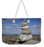 Cairn At North Point On Leelanau Peninsula In Michigan Weekender Tote Bag