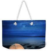Camping Tent By The Lake At Night Weekender Tote Bag