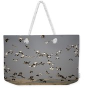 Canada Geese And White Geese Migration Weekender Tote Bag