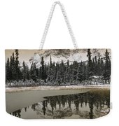 Canadian Rocky Mountains Dusted In Snow Weekender Tote Bag by Tim Fitzharris