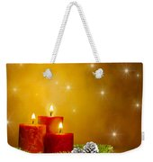 Candles Decorated Branches Of A Pine Tree And Fir Cones Weekender Tote Bag