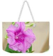 Candy Pink Morning Glory Flower Weekender Tote Bag