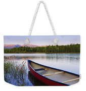 Canoe And Boya Lake At Sunset, Boya Weekender Tote Bag