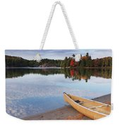 Canoe On A Shore Autumn Nature Scenery Weekender Tote Bag