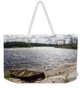 Canoe Pulled Up On The Shore Weekender Tote Bag