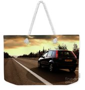 Car On The Road During Sunset Weekender Tote Bag